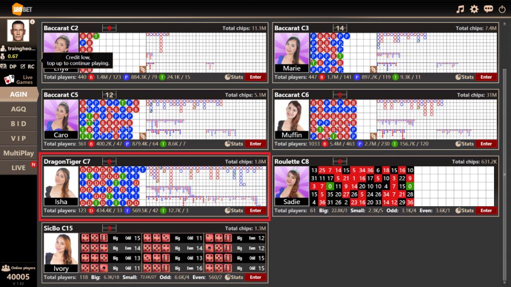 Cách chơi cá cược Rồng Hổ online tại nhà cái casino 188Bet